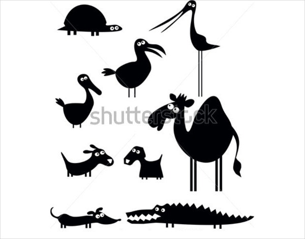 animal cartoon silhouette