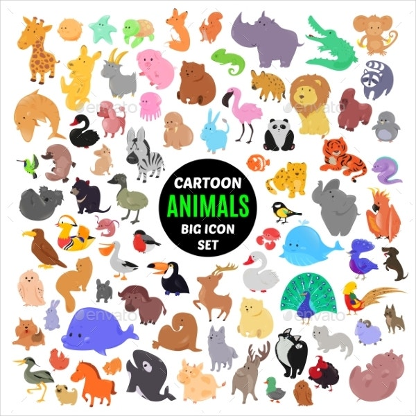 animal cartoon icons