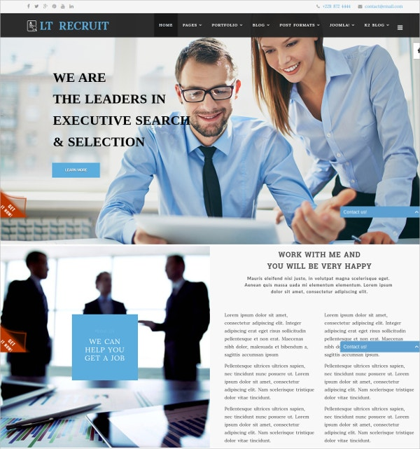 Job Board Recruitment Agency Joomla Template $29