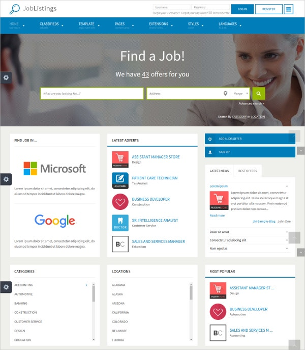 Job Board Seekers & Listings Joomla Template