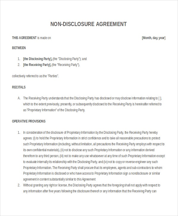 Simple Non-disclosure Agreement Template