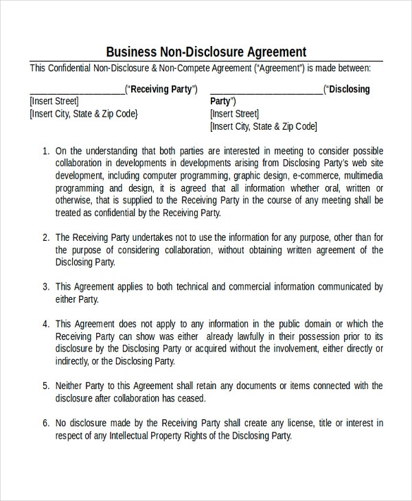 Business Non Disclosure Agreement Template  Disclosure Agreement Sample