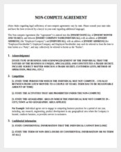 Non-compete Agreement Template