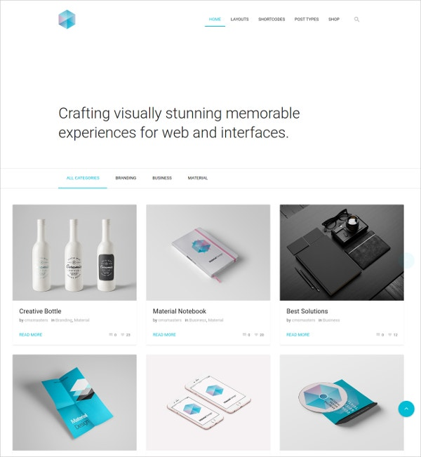 Company Material Design WordPress Website Theme $59