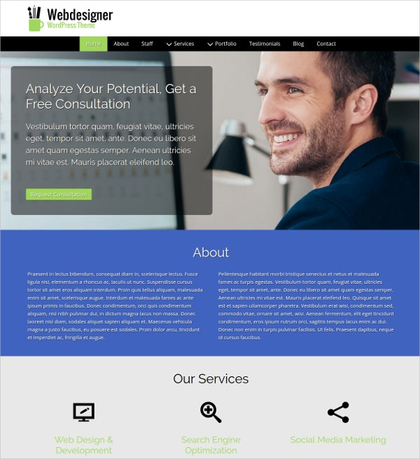 Web Designer WordPress Website Theme