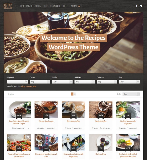 Multipurpose Recipe WordPress Theme $49