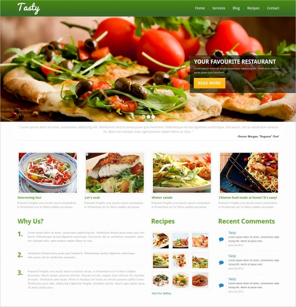 Tasty Recipes Online WordPress Theme $75