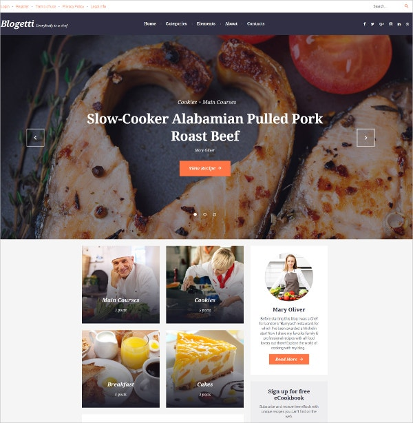 Roast Beef Cooking WordPress Theme $45