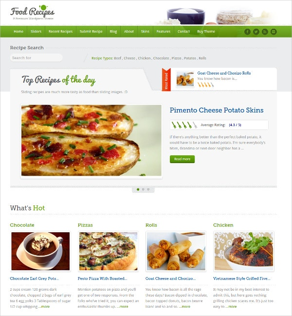 Food Recipes WordPress Theme $49