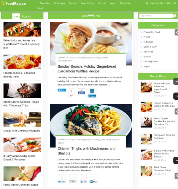Cooking Blogs & Travel Food Bloggers WP Theme $79