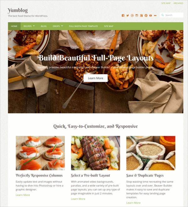 responsive food wordpress theme