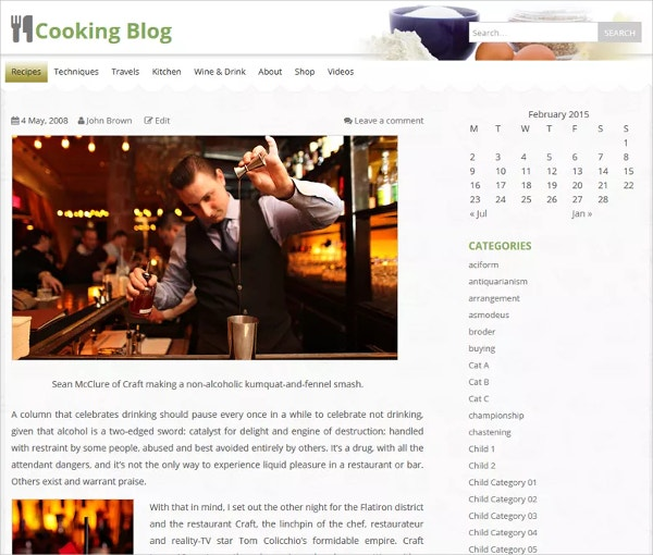 Free Food Cooking WordPress Theme