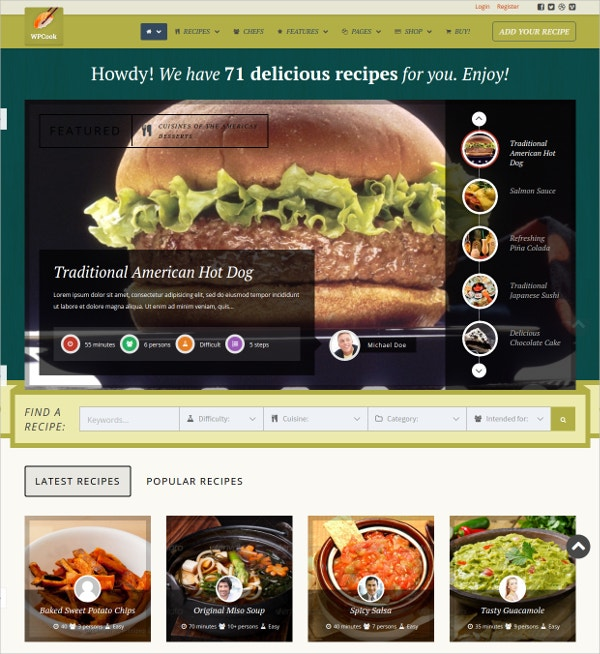 Delicious Recipes WordPress Theme $95