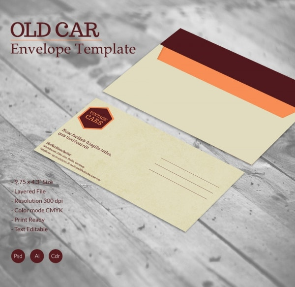 Old Car Envelope Template
