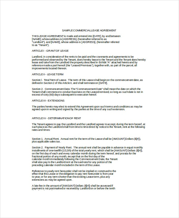 Commercial Lease Agreement Template  Lease Template Word
