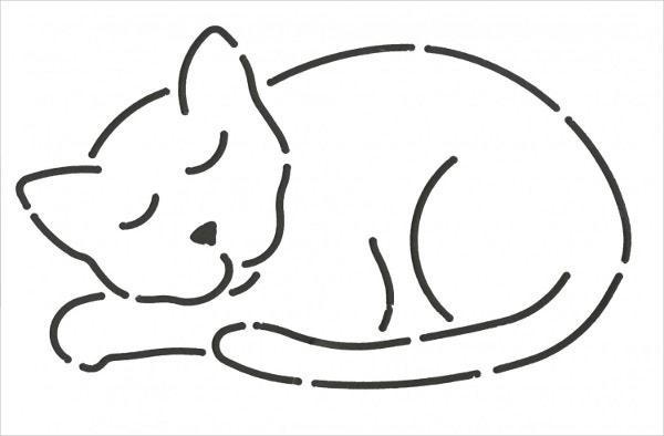 napper cat applique stencil template