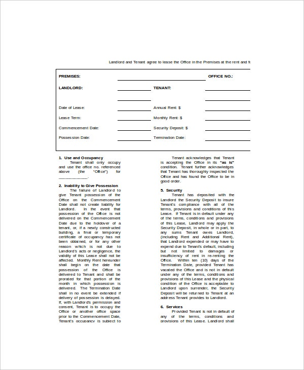 commercial office lease template