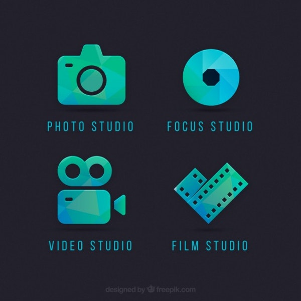 camera logos in green and blue color