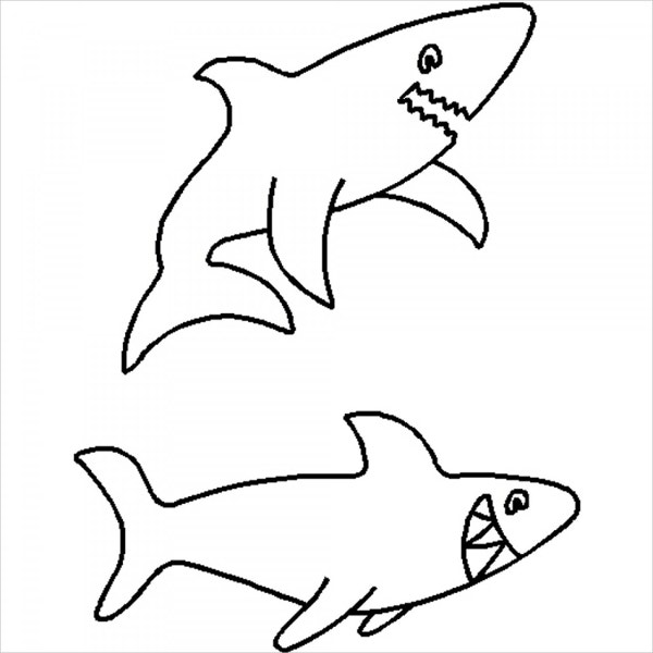 sharks quilting stencil template3