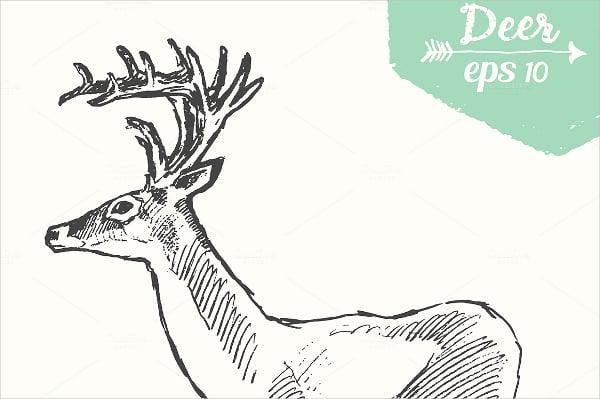Horny Deer Stencil Template
