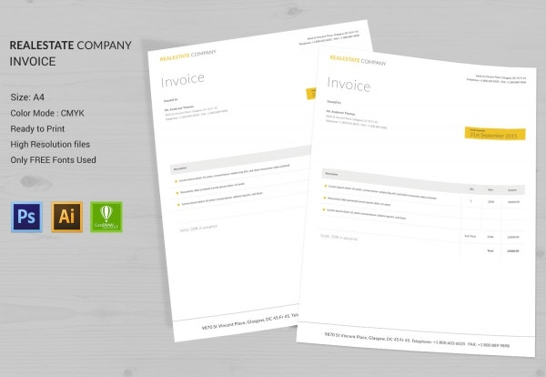 Real Estate Company Invoice