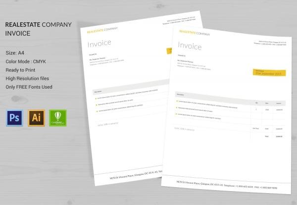 real estate company invoice