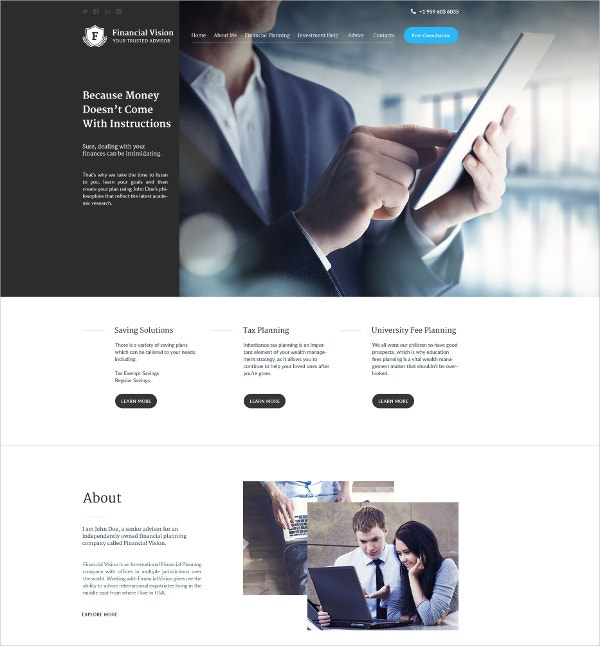 Financial Business WordPress Theme $75