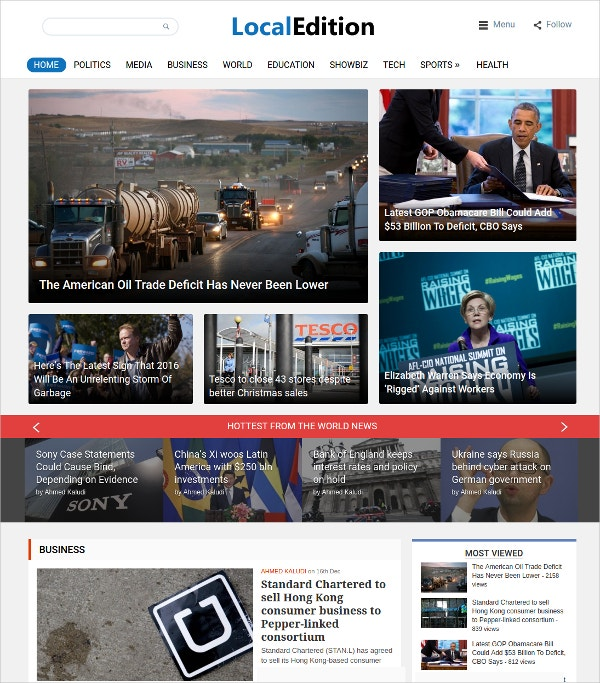 Business Magazine WordPress Theme $59