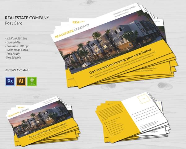 real estate company postcard