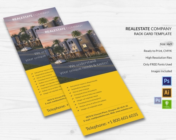 Real Estate Company Templates PSD EPS AI CDR Format - 4x9 rack card template
