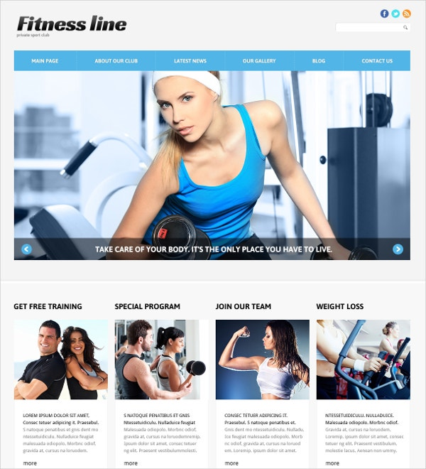 Fitness Club Joomla Template $75  Fitness Templates Free