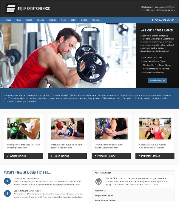 Joomla Sports and Fitness Theme $48