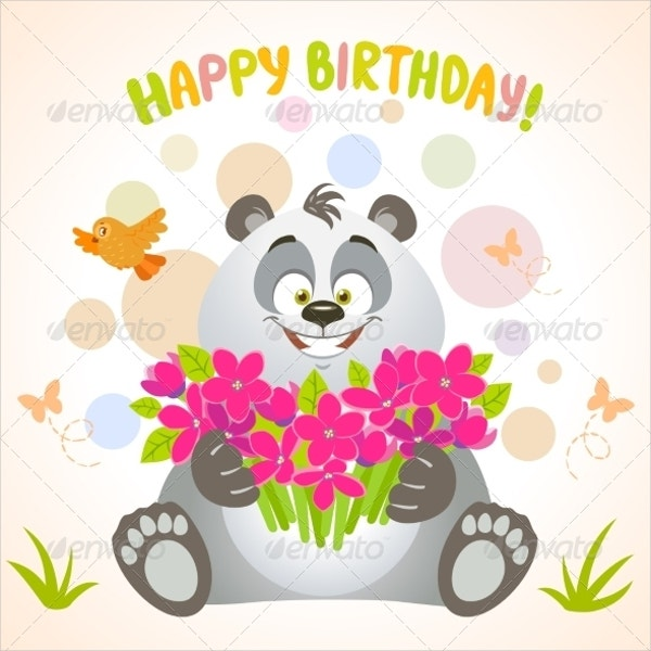 Happy Panda Birthday Invitation Template