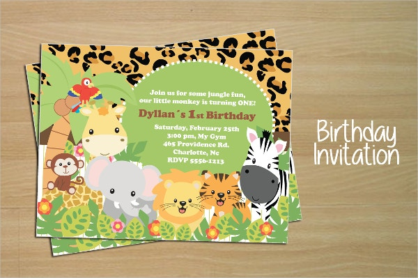 Jungle Animals Birthday Invitation Template