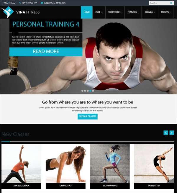 Joomla Health & Fitness Template $30