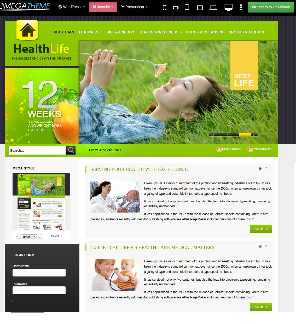 Weightloss, Health & Fitness Joomla Template