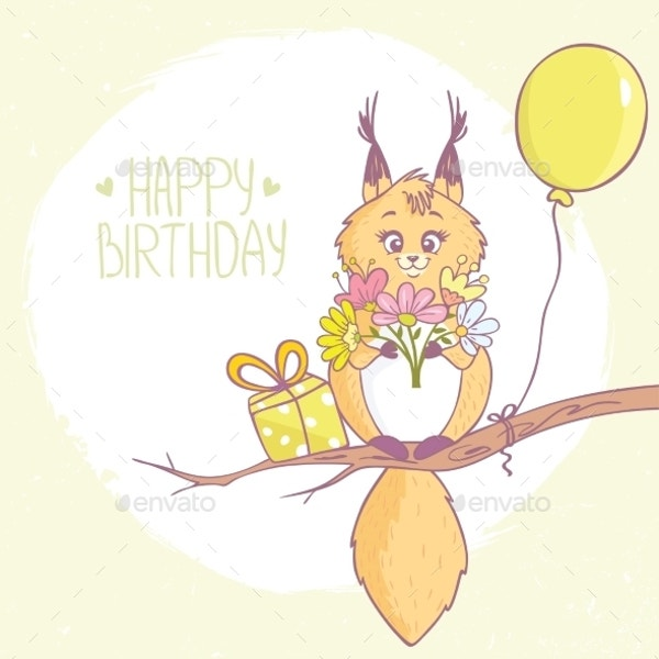 Funny Squirrel Birthday Invitation Template