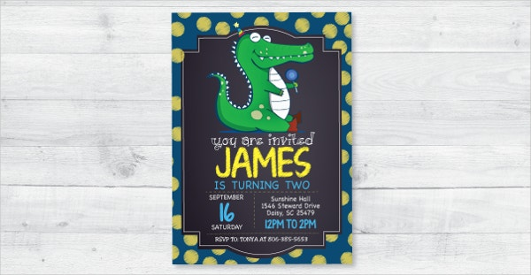Cartoon Alligator Birthday Invitation Template