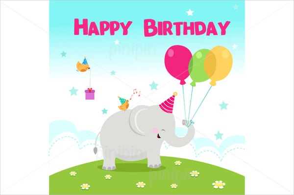 Cute Elephant Birthday Invitation Template