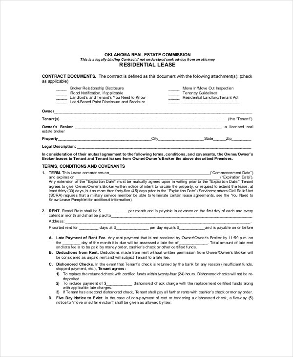 Residential Lease Template 7 Free Word PDF Documents Download – Mutual Agreement Contract Template