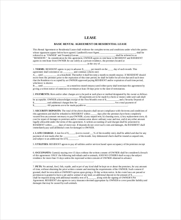 Basic Residential Lease Template