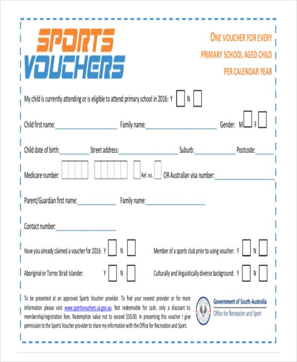 Sports Voucher Template