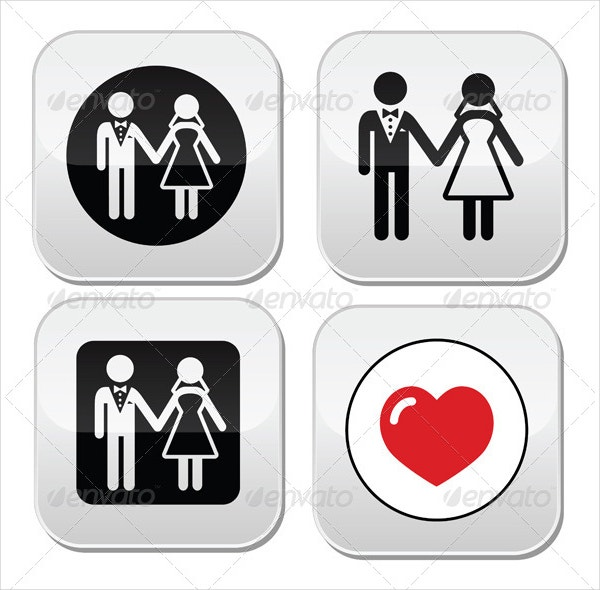 black white wedding icons