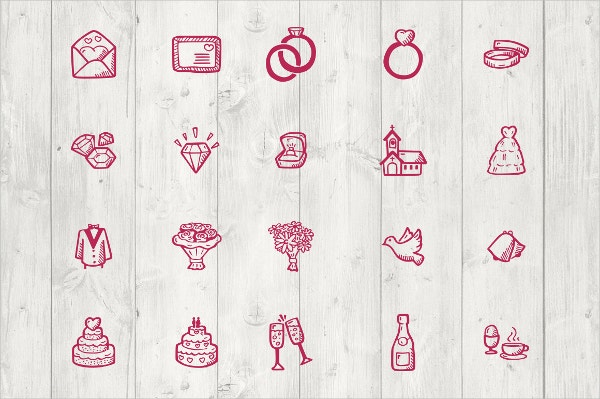 colorful wedding icons