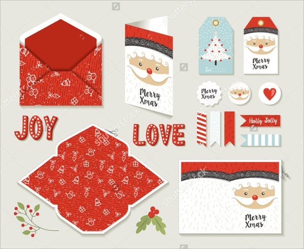 Set Of Merry Christmas Greeting Cards