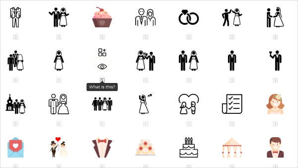 multiple wedding icons
