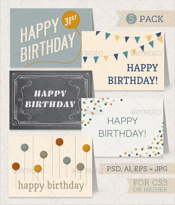 printable birthday greeting card pack
