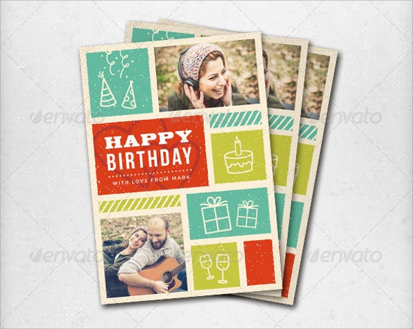 Printable Retro Birthday Greeting Card