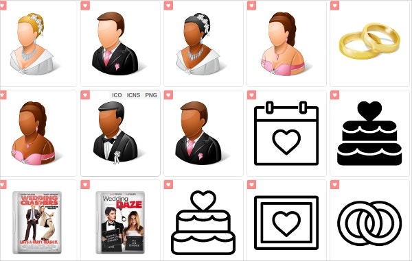 set of colorful wedding icons