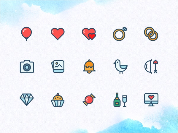 Color Outline Wedding Icon